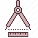 accuracy, compass, measure, precision, quality, ruler, tool icon