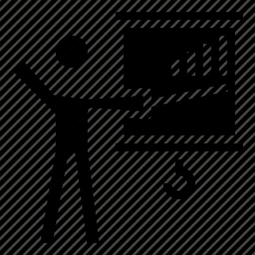 blackboard, class, education, person, presentation, teacher, teaching icon