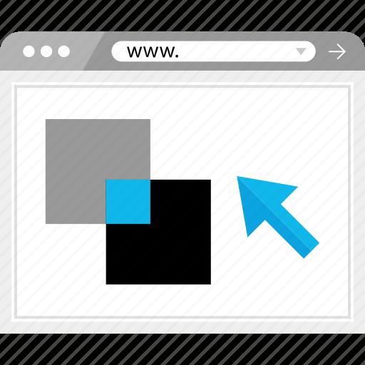 arrow, click, development, web icon