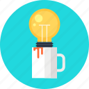 bulb, cup, energy, idea, imagination, inspiration, light icon