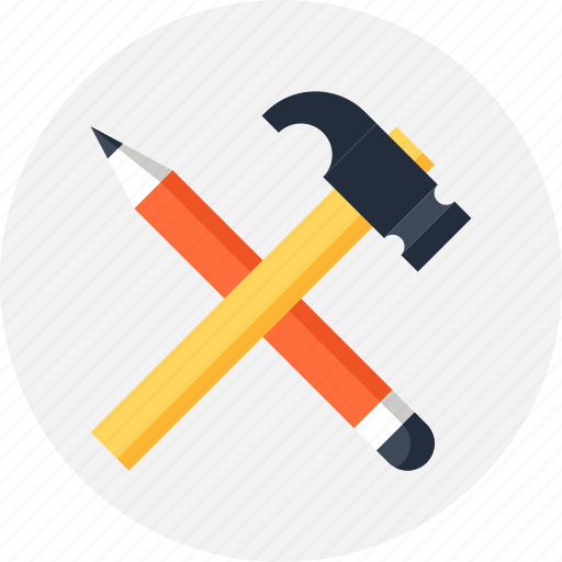 build, construct, design, development, hammer, instrument, pencil, tool icon