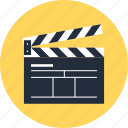 action, cinema, cinematography, clapboard, clapper, film, movie, video icon