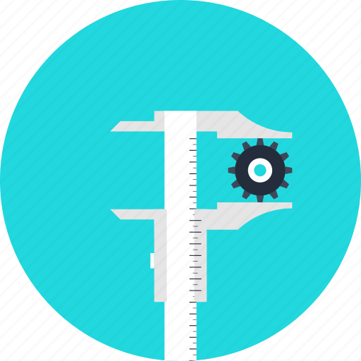 calipers, development, engineering, instrument, measurement, precision, ruler, tool icon
