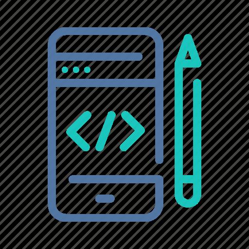 code, coding, design, development, mobile, programming, web icon