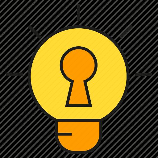 creative, idea, key, light bulb, lock, secret, smart icon