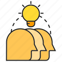 brainstorm, creative, head, idea, light bulb, smart, thinking icon