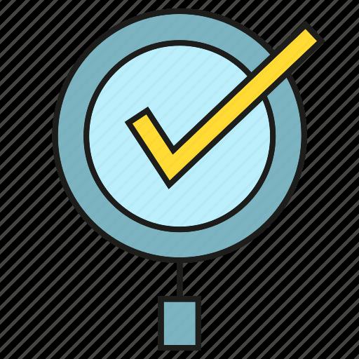 approve, check list, magnifier, tick, verify icon
