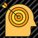 bow, dart, focus, head, target icon