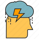 cloud, doubt, gloom, head, rain, sad icon