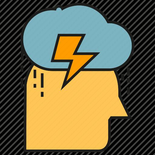 cloud, doubt, gloom, head, rain, sad icon