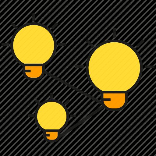 bulb, connection, creative, idea, intelligence, light, smart icon