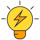 bolt, creative, idea, intelligence, light bulb, smart, thinking icon