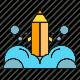 bubble, design, launch, pencil, rocket, spaceship, startup icon
