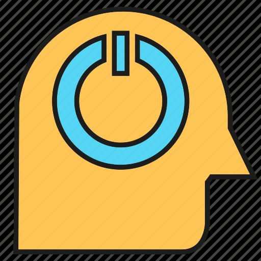 creative, head, intelligence, power, reset, smart, thinking icon