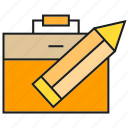 bag, briefcase, design, pencil icon
