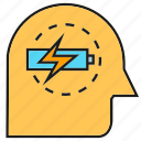 battery, bolt, brain, energy, intelligence, smart, thinking icon