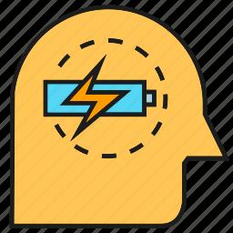 battery, bolt, brain, energy, intelligence, smart, thinking icon