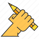design, drawing, hand, hold, pencil icon
