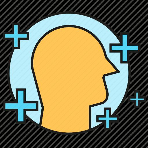 creative, head, idea, plus, smart, thinking, thinking positive icon