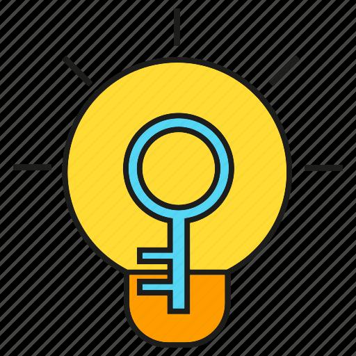 bulb, creative, intelligence, key, light, secret, smart icon