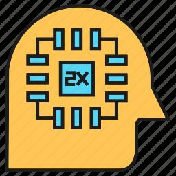 chip, head, intelligence, microchip, processor, smart, thinking icon