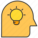 bulb, creative, head, idea, light, smart, thinking icon