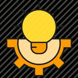 bulb, cog, creative, gear, idea, light, smart icon