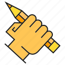 design, drawing, hand, hold, pencil, writing icon