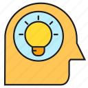 creative, head, idea, intelligence, light bulb, smart, thinking icon