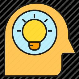 creative, head, idea, intelligence, light bulb, smart, thinking icon