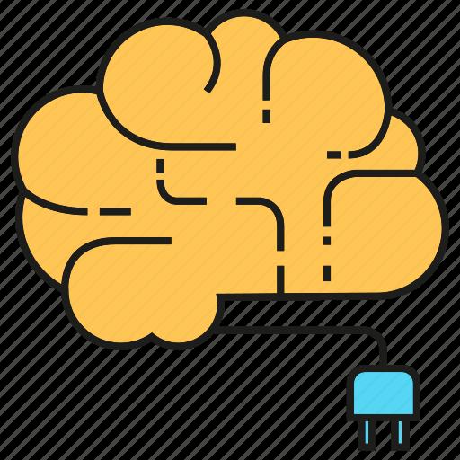 brain, creative, energy, idea, plug, smart, thinking icon