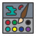 color, palette, paint, brush