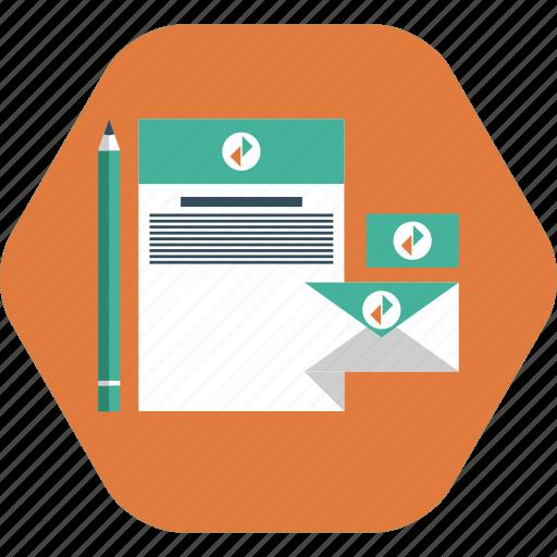 brand design, brand designing, envelope, letter head, pencil, visiting card icon icon