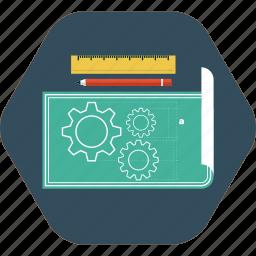blueprint, creativity, design tools, framework, model, sketch, template icon icon