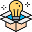 box, bulb, creative, creativity, idea, innovation, light icon
