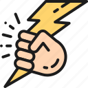 business, creativity, hand, lightning, line, power icon