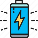 accumulator, battery, business, charging, creativity, line, outline icon