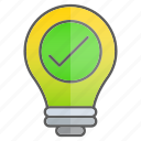 checkmark, creativity, idea, intelligence, knowledge, ok icon