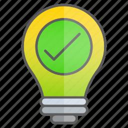 checkmark, creativity, idea, intelligence, knowledge, ok icon