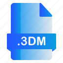 3dm, extension, file, format icon