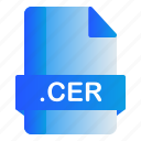 cer, extension, file, format icon