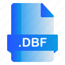 dbf, extension, file, format icon