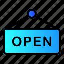 board, open, shop, store