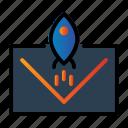 email, envelope, rocket, seo icon