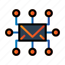circuit, mail, seo, share icon