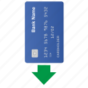 arrow, bottom, card, credit icon