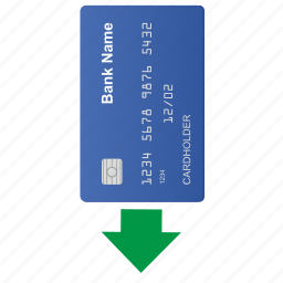 arrow, bottom, card, credit icon