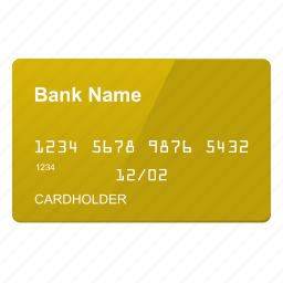 card, credit, gold icon