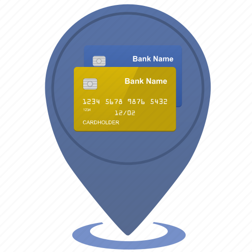bank, card, credit, dot, map, place, point icon