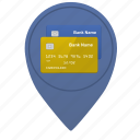 bank, card, credit, location, map, place, point icon